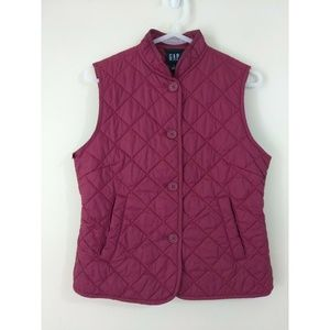 Gap size S thin maroon quilted vest w/ collar